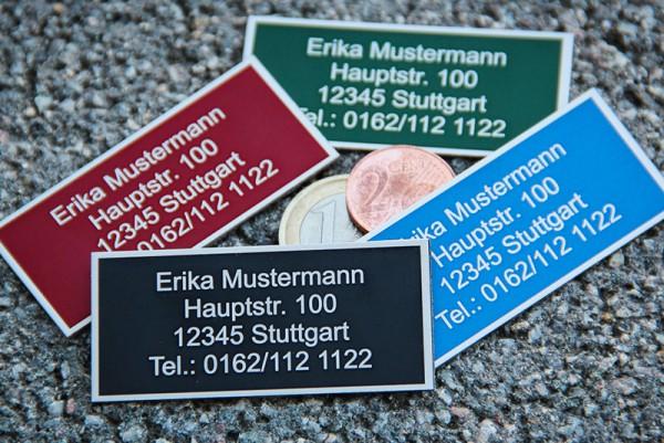Adress-Schild in Farbe mit Lasergravur