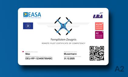 EU Fernpilotenzeugnis A2 als Karte [ Drohnenführerschein ]