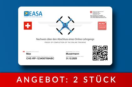 2 x EU Drohnenführerschein als Karte [ Schweiz ]